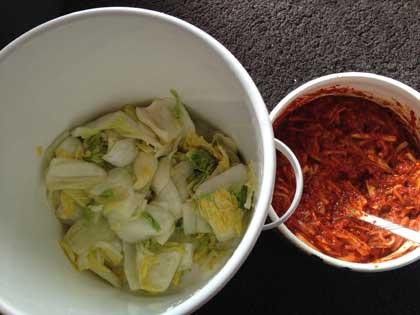良く絞った白菜とキムチのたれ
