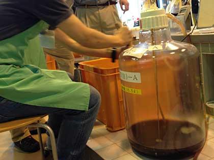 麦汁を冷やしながら樽に詰める