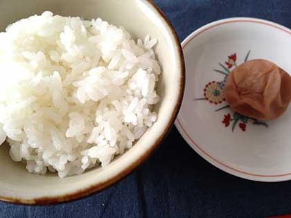 できあがったばかりの白干し梅を白米とともに