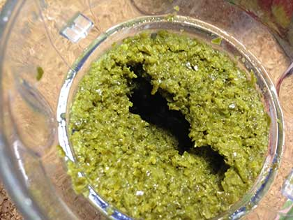 かぼす胡椒、フードミルにかけた後